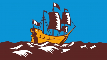 hull: Illustration of a tall sailing cargo ship galleon done in retro woodcut style. Stock Photo