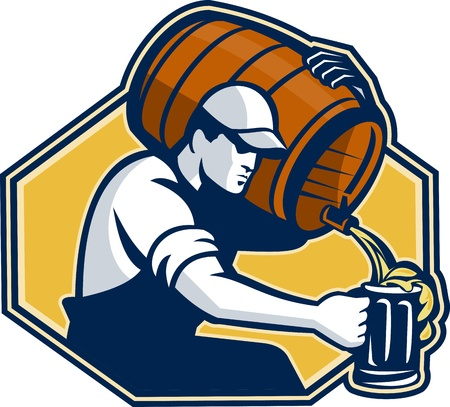 Illustration of a bartender worker with carrying beer barrel keg on shoulder pouring beer into glass mug.