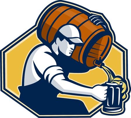 shoulder carrying: Illustration of a bartender worker with carrying beer barrel keg on shoulder pouring beer into glass mug.