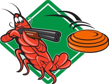 fusil de chasse: Illustration d'un tir au pigeon d'argile �crevisses homard cible en utilisant fusil fusil de chasse visant � voler disque d'argile en forme de diamant avec en arri�re-plan fait dans le style bande dessin�e. Illustration
