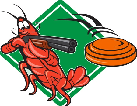 Illustration of a crayfish lobster skeet target shooting using shotgun rifle aiming at flying clay disk with diamond shape in background done in cartoon style. Illustration