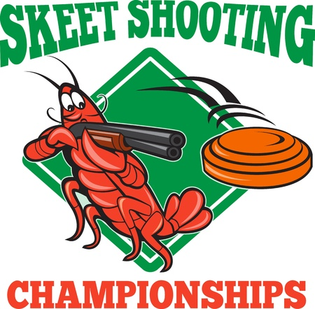 Illustration of a crayfish lobster skeet target shooting using shotgun rifle aiming at flying clay disk with diamond shape  Vector