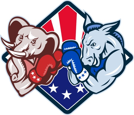 republican: Illustration of a democrat donkey mascot of the democratic grand old party gop and republican elephant boxer boxing with gloves set inside diamond Illustration