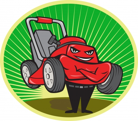 front facing: Illustration of lawn mower man smiling standing with arms folded facing front done in cartoon style set inside oval with sunburst in the background.