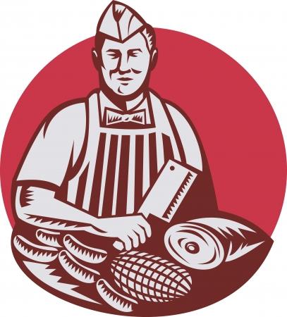 viande couteau: Illustration de style r�tro d'un travailleur cutter boucher avec de la viande couperet couteau face � face ensemble � l'int�rieur de cercle sur fond isol�.