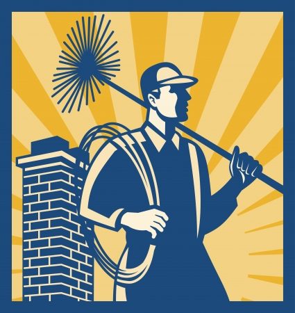 Illustration of a chimney sweeper cleaner worker with sweep broom viewed from side with chimney stack set inside square done in retro style. Vector
