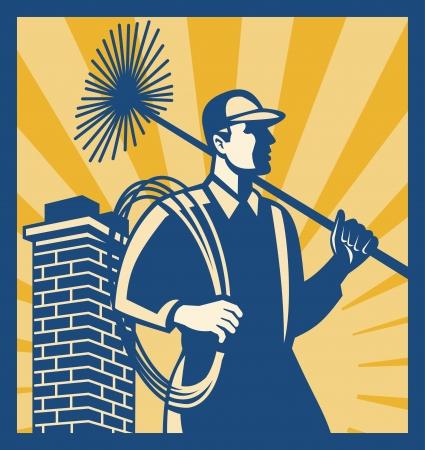 spazzatrice: Illustrazione di un operaio pulitore spazzacamino con sweep scopa visto dal lato con camino impostato all'interno di piazza fatto in stile retr�. Vettoriali