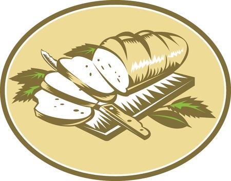 パンを一斤のイラストで、ナイフとレトロな木版画のスタイルで行われる葉をまな板でスライスされました。