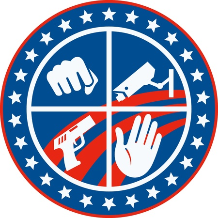 Illustration of a fist punching cctv surveillance security camera pistol gun and hand set inside circle with stars and stripes done in retro style. Vector