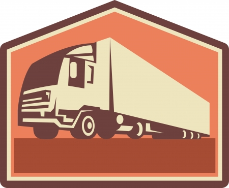 cartage: Illustration of a container truck and trailer lorry done in retro style viewed from a low angle.
