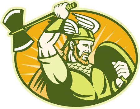 braqueur: Illustration d'un guerrier viking barbare raider avec casque ail� balan�ant une hache et un ensemble bouclier � l'int�rieur ovale fait dans le style r�tro. Illustration