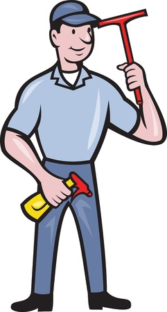 Illustration of window cleaner with squeegee and spray bottle done in cartoon style. Stock Vector - 16263299