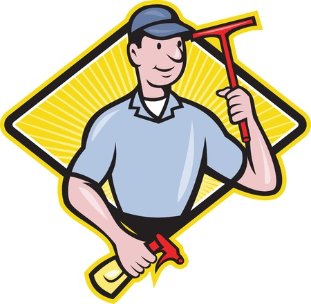 cartoon cleaner: Illustration of window cleaner with squeegee and spray bottle set inside diamond shape done in cartoon style.