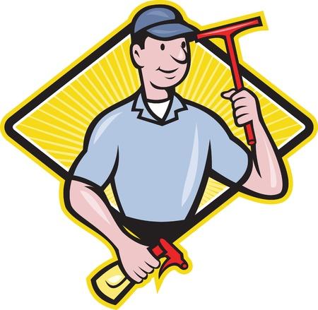 personal de limpieza: Ilustraci�n de un limpiador de ventanas con escobilla de goma y set botella de spray dentro de rombo hecho en estilo de dibujos animados. Vectores
