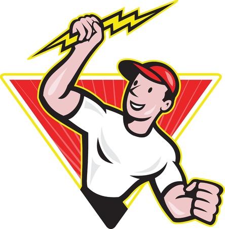 Illustration d'un travailleur de la construction électricien titulaire d'un jeu de foudre dans le triangle fait dans le style bande dessinée sur fond blanc isolé Vecteurs