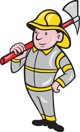 ax: illustration of a fireman fire fighter emergency worker with fire ax done in cartoon style standing on isolated white background  Illustration