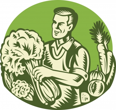 Illustration of an organic farmer green grocer harvesting green leafy vegetables set inside circle done retro woodcut style