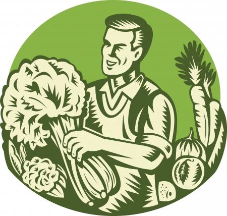 org�nico: Ilustraci�n de un tendero verde agricultor org�nico cosechar vegetales de hojas verdes establecidas dentro del c�rculo hecho grabar en madera estilo retro