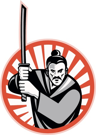samurai warrior: Illustration of a samurai warrior facing front with katana sword set inside circle done in retro style