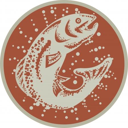 trucha: Ilustración de un salto pez trucha conjunto dentro de círculo sobre fondo blanco aislado hecho en estilo retro