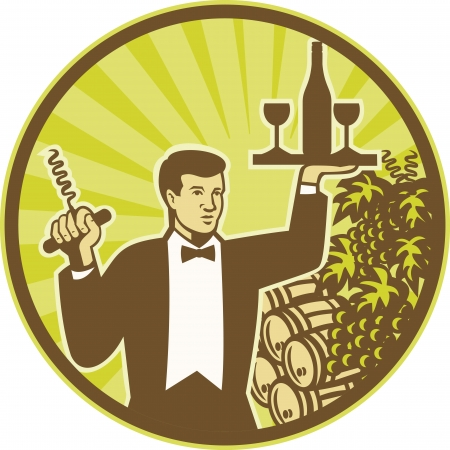 cork screw: Illustration of a waiter holding cork screw and serving wine bottle and glass on platter with wine barrel and grape vine and fruit in background set inside circle retro style