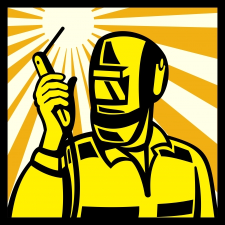 metal worker: Illustration of welder worker welding torch viewed from side set inside square done in retro style