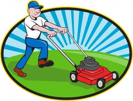 孤立した白い背景の上の漫画のスタイルで行われる側の笑みを浮かべて芝生芝刈り機を押す庭師庭師のイラスト