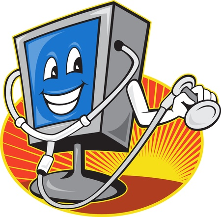 computer repair: Illustration of computer tv monitor screen with doctor stethoscope done in cartoon style set inside oval