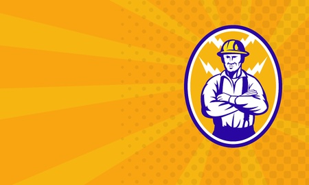 arms folded: Illustration of an electrician construction worker with arms folded and lightning bolt in background set inside ellipse done in retro style business card format