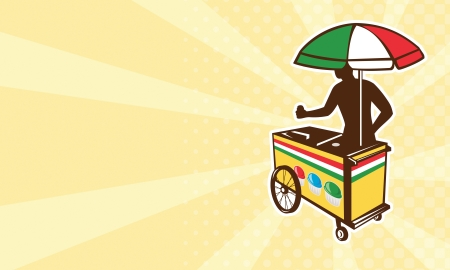 vendor: illustration of an Italian ice push cart vending vendor with umbrella in flag of Italy colors done in retro style on isolated white background business card format