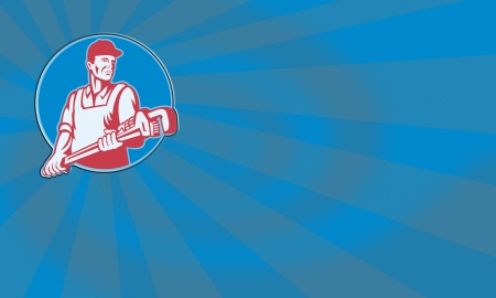 Retro illustration of a plumber worker carrying a giant adjustable monkey wrench viewed from front set inside circle on isolated white background. Reklamní fotografie