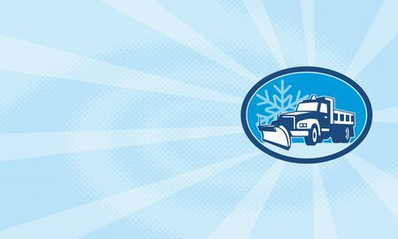 plow: Illustration of a snow plow truck plowing with winter snow flakes in background set inside circle done in retro style. Stock Photo