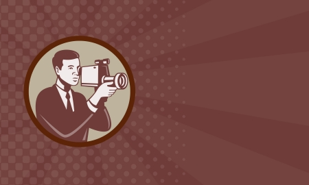 handycam:  Illustration of a male photographer shooting with video camera handycam video cam done in retro style set inside circle business card format. Stock Photo