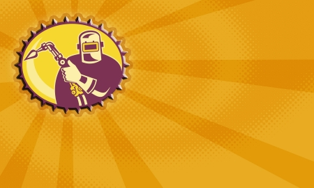 torch flame: Illustration of a welder worker fabricator with welding torch set inside ellipse  with sunburst in background done in retro style. Stock Photo
