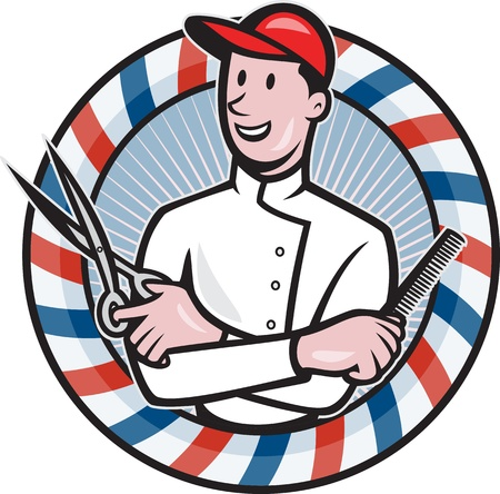 barber pole: Illustration of a barber with arms crossed holding a pair of scissors  comb with circular barber Illustration