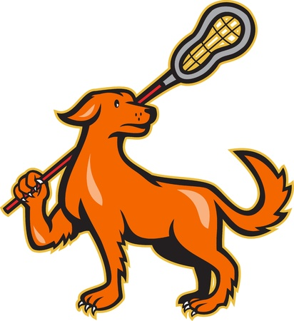 Illustration of a dog holding a lacrosse stick viewed from the side on isolated white background