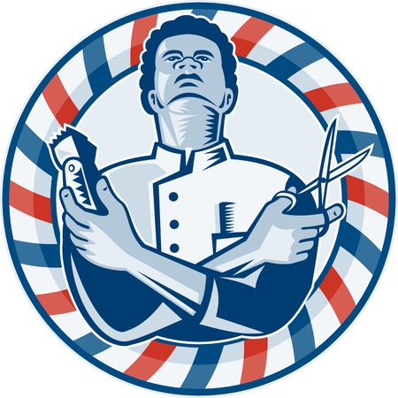 barber pole: Illustration of an african american barber with arms crossed holding a hair clipper and a pair of scissors with circular barber
