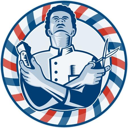 afroamericanas: Ilustraci�n de un barbero afroamericano con los brazos cruzados sosteniendo una cortadora de cabello y un par de tijeras de peluquero circular Vectores