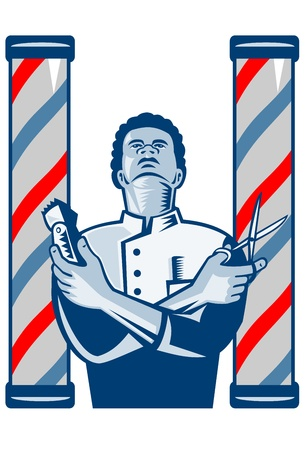 Illustration of an african american barber with arms crossed holding a hair clipper and a pair of scissors with upright barber