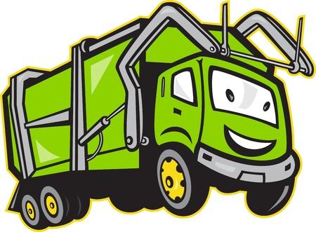 Illustration du camion poubelle des ordures fait dans le style bande dessinée sur fond blanc isolé