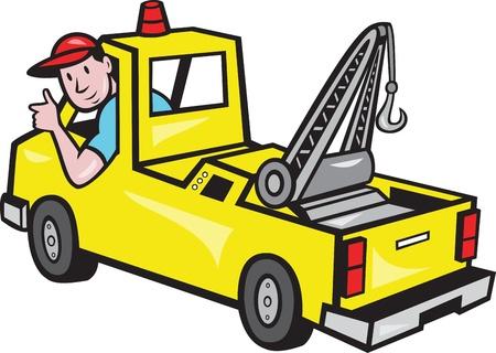 conductor: Ilustraci�n de un cami�n de auxilio de la gr�a con el pulgar conductor en el fondo blanco aislado
