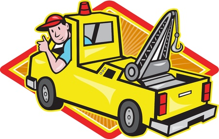 Illustration of a tow truck wrecker with driver thumb up set inside diamond on isolated white background  Vector