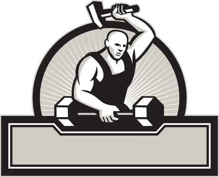 blacksmith: Illustration of a blacksmith with hammer forging striking a barbell set inside circle on isolated white background