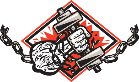 dumbells: Illustration of a ripped strongman hand bursting through with dumbbells bound in chains breaking them facing front set inside diamond done in retro style