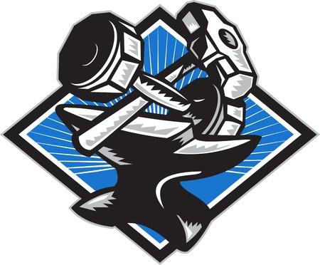 sledgehammer: Illustration of a crossed dumbbell barbell and sledgehammer sitting on top of anvil set inside diamond done in retro woodcut style  Illustration