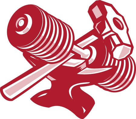 sledge hammer: Illustration of a crossed dumbbell barbell and sledgehammer set inside oval done in retro woodcut style