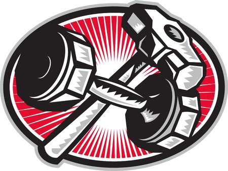 sledgehammer: Illustration of a crossed dumbbell barbell and sledgehammer set inside oval done in retro woodcut style
