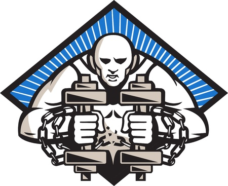 strongman: Illustration of a strongman with two dumbbells bound in chains breaking them facing front set inside diamond done in retro style