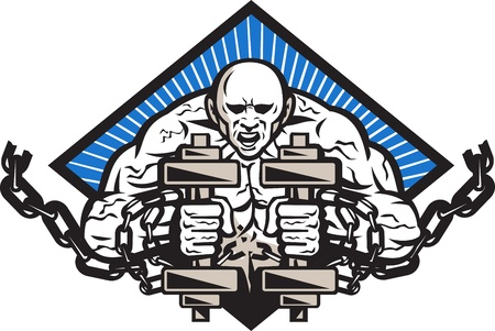 Illustration of a strongman with two dumbbells bound in chains breaking them facing front set inside diamond done in retro style  Vector