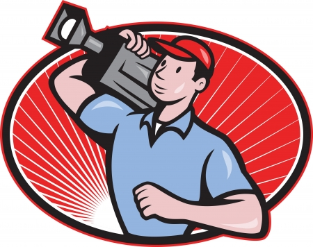 film crew: Illustration of a cameraman film crew carrying video movie camera set inside oval done in cartoon style  Illustration
